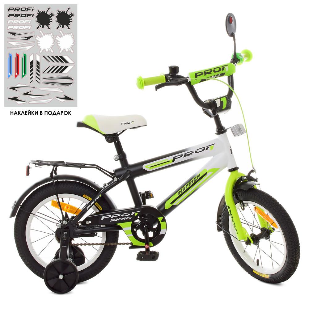 Двухколесный детский велосипед PROFI 14 дюймов SY1454 Inspirer черно-салатовый