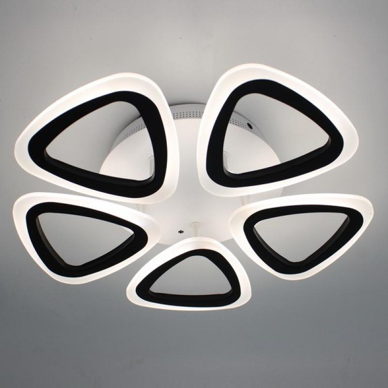 Потолочная LED люстра с димером на 16кв.м цвет черно белый 80W Diasha&3825-5 40W*2