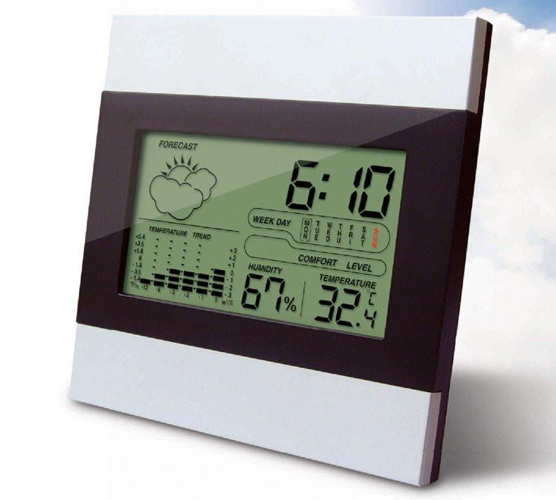 Метеостанция настольная (гигрометр, термометр, электронные часы - календарь).