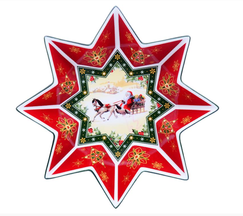 """Салатник новогодний, фарфоровый, восьмиугольник """"Санта в санях""""Cristmas collection"""", 26 см"""