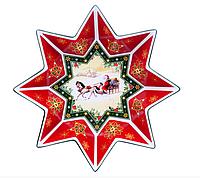 """Салатник новогодний, фарфоровый, восьмиугольник """"Санта в санях""""Cristmas collection"""", 26 см, фото 1"""