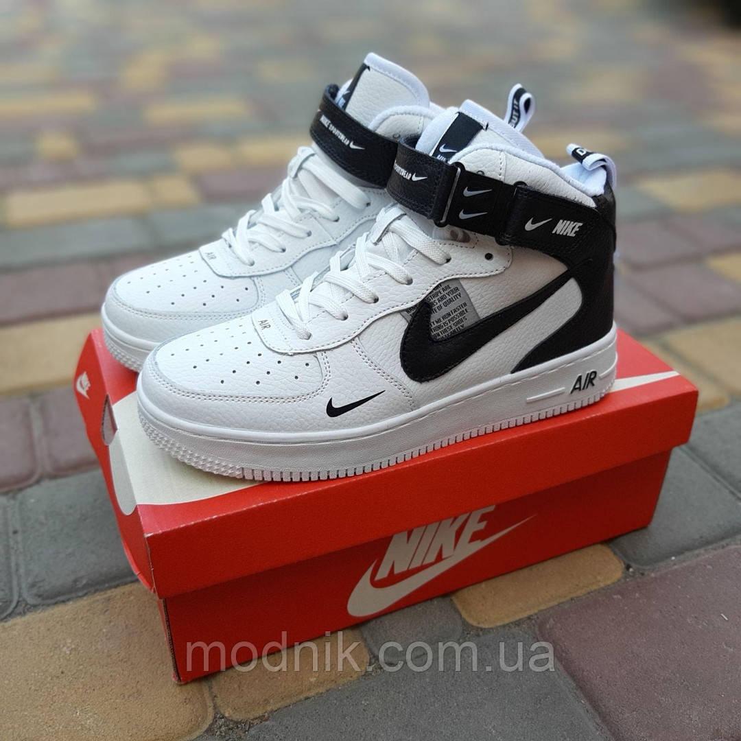 Жіночі зимові кросівки Nike Air Force 1 Mid LV8 (біло-чорні) 3550