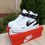 Жіночі зимові кросівки Nike Air Force 1 Mid LV8 (біло-чорні) 3550, фото 7
