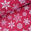 Поплін з великими сніжинками на червоному, ш. 240 см
