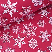 Поплін з великими сніжинками на червоному, ш. 240 см, фото 1
