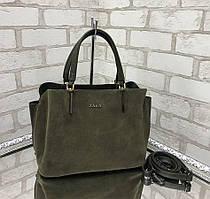 Сумка женская замшевая хаки классическая небольшая деловая сумочка натуральная замша+экокожа