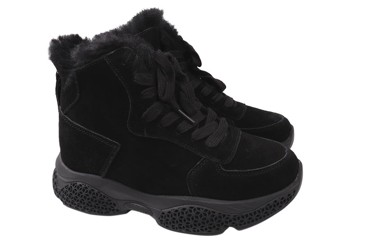 Ботинки женские зимние на платформе из натуральной замши, черные Farinni