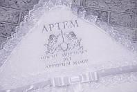 """Именная крыжма """"Бантик"""" с ангелами (серебро), фото 1"""