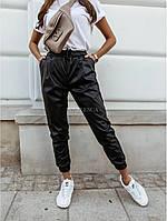 Женские кожаные брюки-джогеры, фото 1