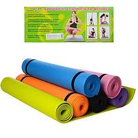Коврик спортивный для фитнеса и йоги - йогамат нескользящий M 0380-1 EVA, 173 см × 61 см, толщина 4 мм