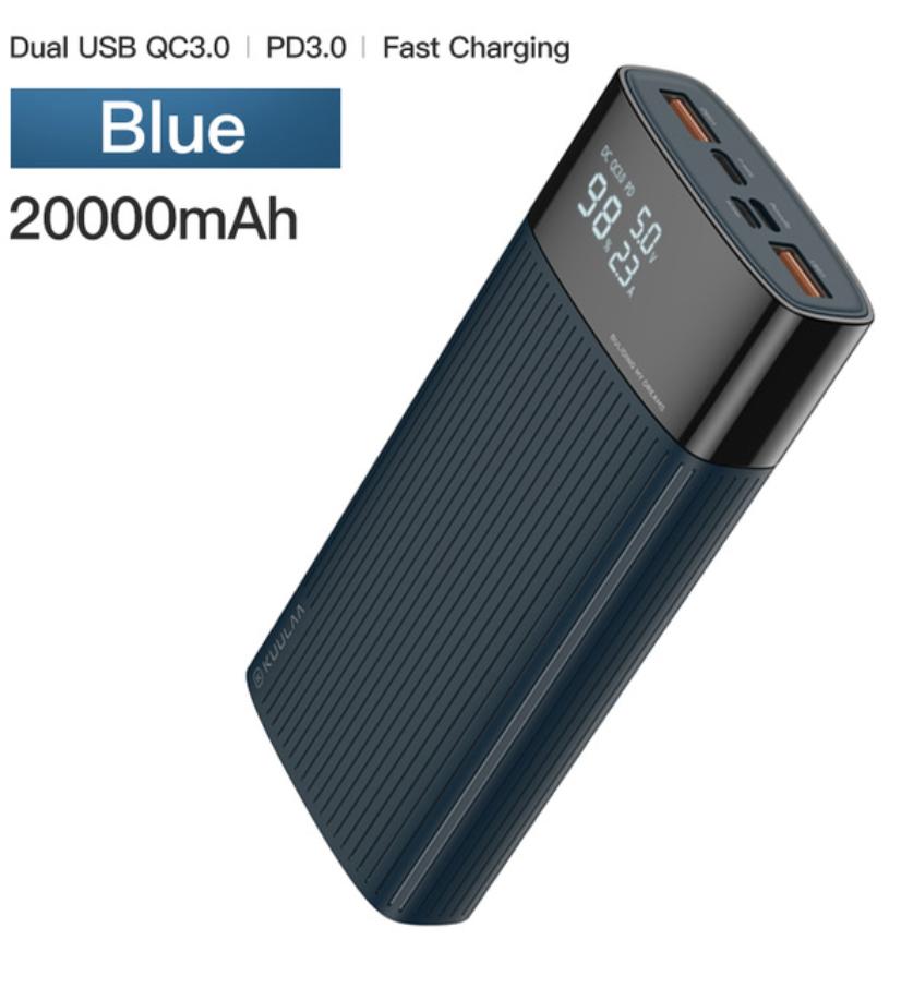 Портативное зарядное устройство KUULAA BLUE PowerBank 20000 мАч QC PD 3.0 18Вт