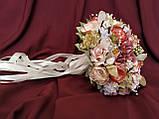 Свадебный букет-дублер в персиково-розовых тонах, фото 3