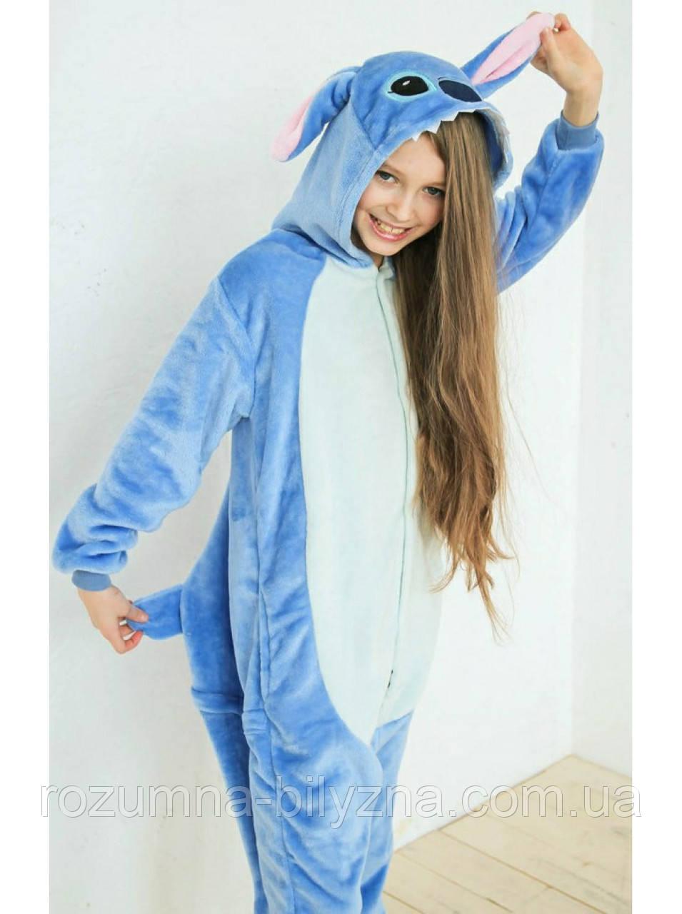 Піжама кігурумі дитяча, синього кольору Стіч. Розмір: 110. 120. 130. см