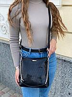 Женская кожаная сумка в лазерной обработке чёрная Farfalla Rosso, фото 5