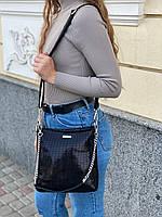 Женская кожаная сумка в лазерной обработке чёрная Farfalla Rosso, фото 4