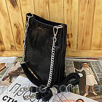 Женская кожаная сумка в лазерной обработке чёрная Farfalla Rosso, фото 8