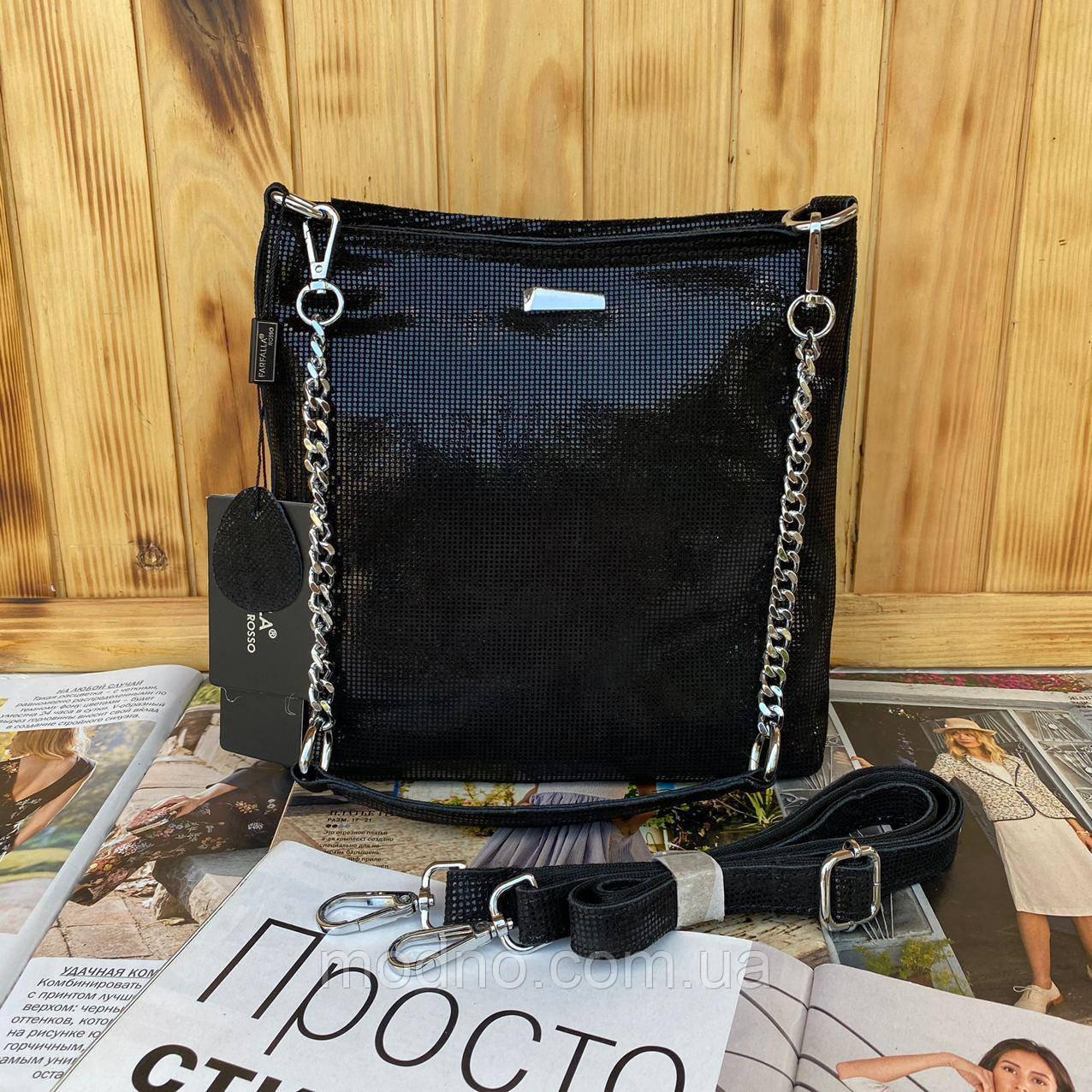 Женская кожаная сумка в лазерной обработке чёрная Farfalla Rosso