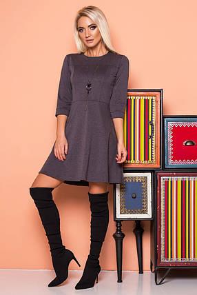Платье с рельефами серое, фото 2