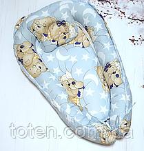 Детское гнездышко-позиционер для новородженных с ортопедической подушкой  Голубенькие Мишки
