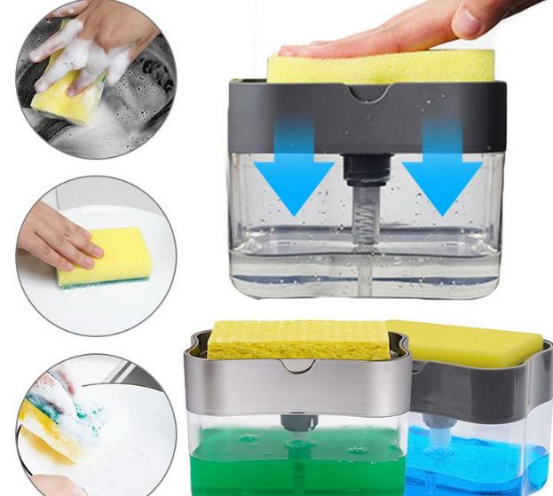 Диспенсер дозатор для миючого засобу з губкою для кухні Sponge Caddy