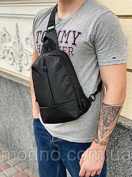Чоловіча нагрудна сумка слінг з плащової тканини чорна