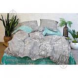 Постельное белье Viluta Ранфорс 17148 Двухспальный  Бирюзовый с серым, фото 2