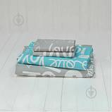 Постельное белье Viluta Ранфорс 17148 Двухспальный  Бирюзовый с серым, фото 4