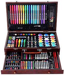 Набор для детского творчества (рисования) ArtKids в деревянном чемодане из 123 предметов (14408)