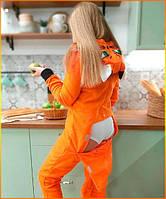 Пижама женская с карманом на попе попожама Лиса комбинезон кигуруми