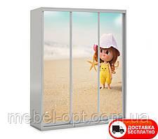 Шкаф купе 3Д трехдверный Baby 2, выбор цвета корпуса и рисунка