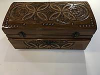 Шкатулка дерев'яна з потайною шухлядою та дзеркалом різьблена з дерева Горіх інхр.бісером роз 29.5*15.5*14.2см, фото 1