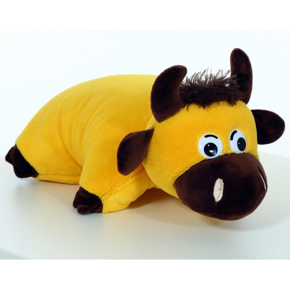 Мягкая игрушка Подушка Бычок- трансформер с тайником (для конфет/подарков), Желтый