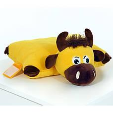 Мягкая игрушка Подушка Бычок- трансформер с тайником (для конфет/подарков), Желтый, фото 2