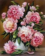 Алмазная вышивка Алмазная мозаика со стразами на подрамнике Розовые пионы 40*50 см