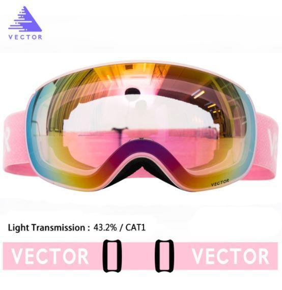 Горнолыжные / сноубордические очки (маска) VECTOR UV400 модель 2019 года - anti-fog двойная линза на магнитах