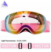 Гірськолижні / сноубордні окуляри (маска) VECTOR UV400 модель 2019 року - anti-fog подвійна лінза на магнітах, фото 1