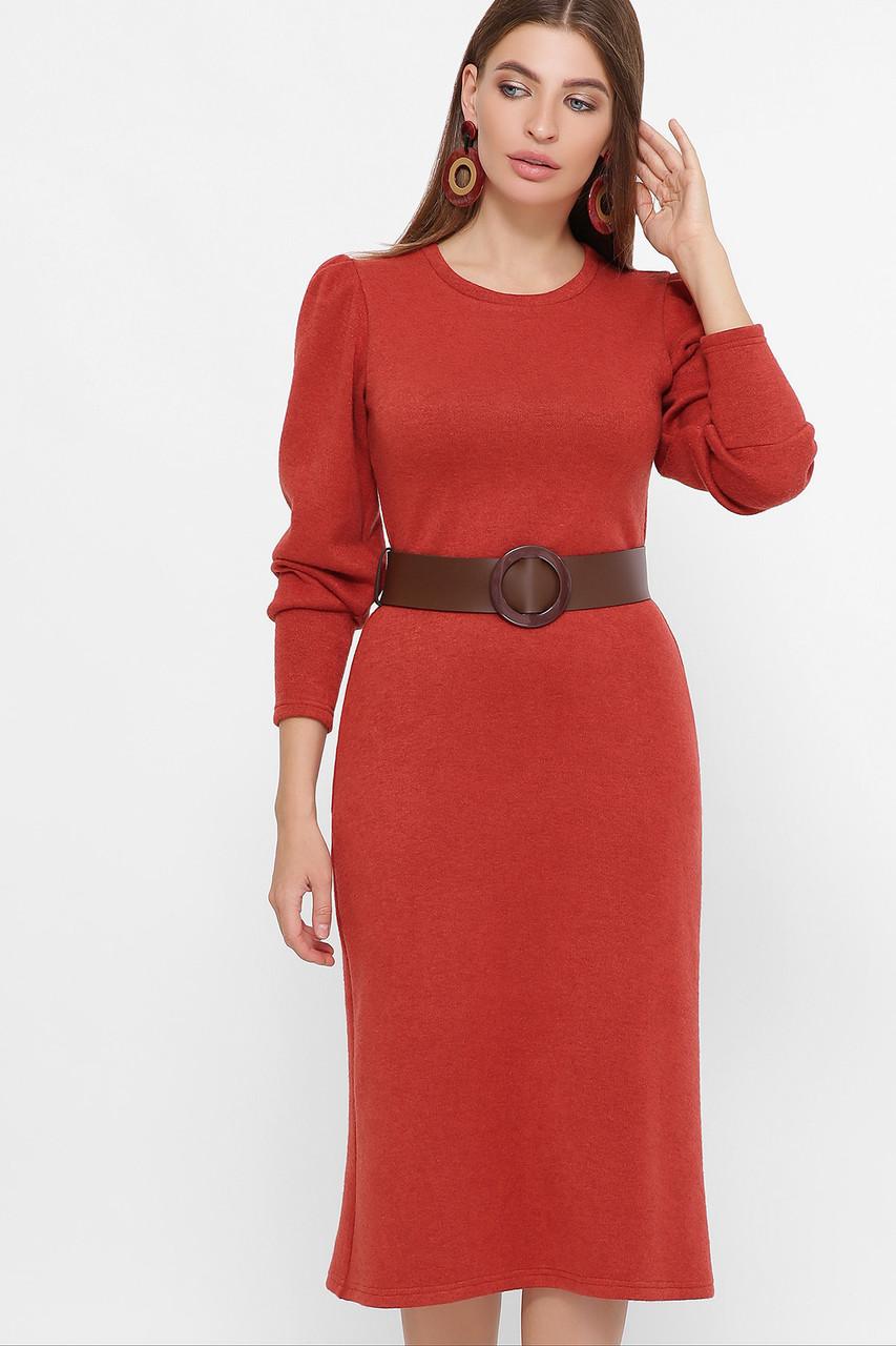 Модное женское платье из ангоры с поясом,  цвет бежевый,  размер от S до XL