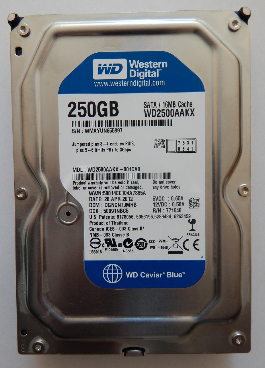"Жесткий диск Б У HDD Western Digital Caviar Blue 250GB 16MB 7200RPM 3,5 "" (WD2500AAKX) состояние отличное"