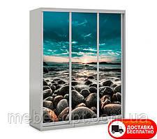 Шкаф купе 3Д трехдверный  Шкаф-купе Природа 10, выбор цвета корпуса и рисунка