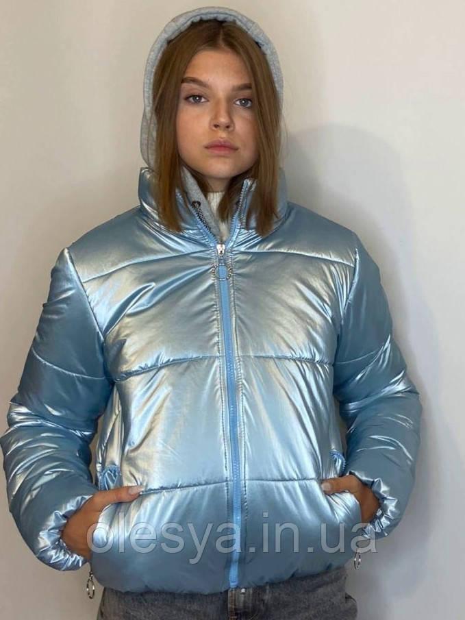 Женская молодежная демисезонная куртка Даша Размеры 38- 48 Цвет голубой