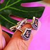 Серебряные запонки с золотом геральдическая Лилия - Запонки из серебра, фото 4