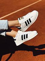 Кроссовки белые Адидас Суперстар Adidas Superstar White & Black, фото 1