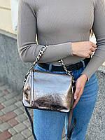 Женская кожаная лаковая сумка через плечо на три отделения, фото 2