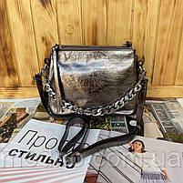 Женская кожаная лаковая сумка через плечо на три отделения, фото 3