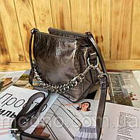 Женская кожаная лаковая сумка через плечо на три отделения, фото 4