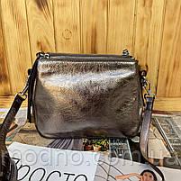 Женская кожаная лаковая сумка через плечо на три отделения, фото 6