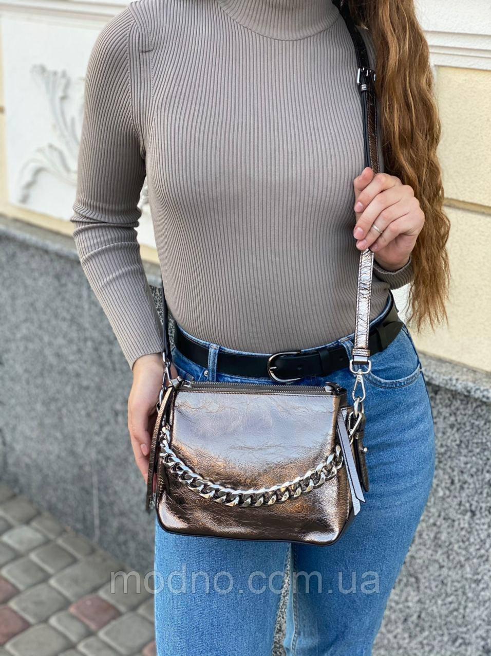 Женская кожаная лаковая сумка через плечо на три отделения