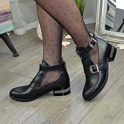 Ботильоны открытые кожаные женские на невысоком каблуке, цвет черный