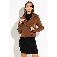 Женское короткое пальто кашемир рыжий