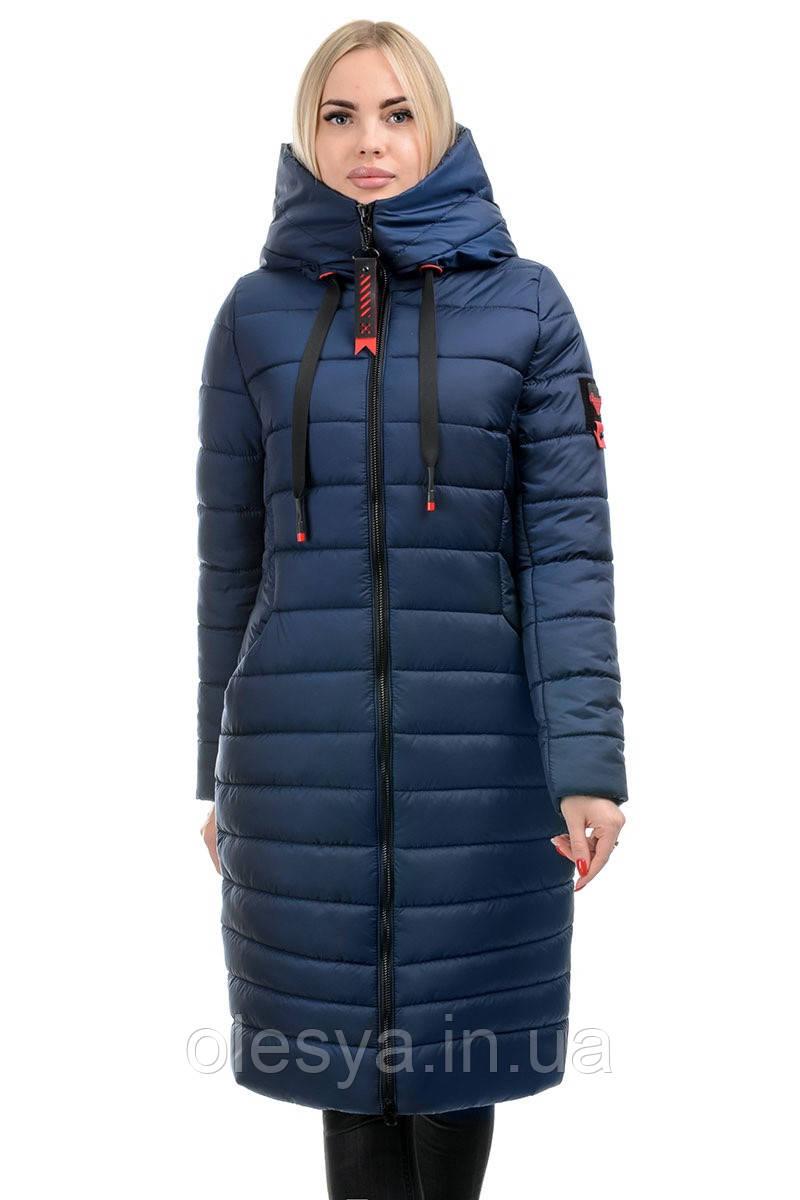 Стильный зимний пуховик с капюшоном Зара Цвет синий, размеры 48 50 52